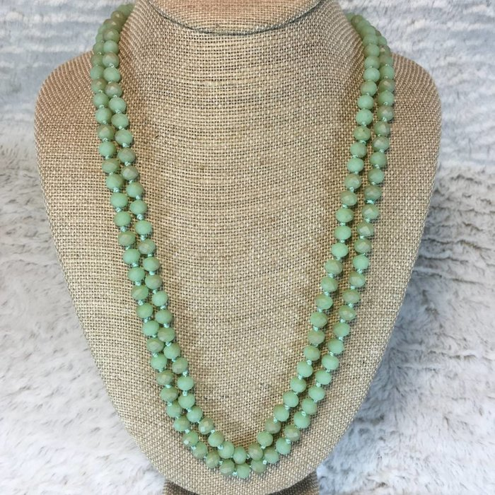 """Matte Light Green Crystal 60"""" Knotted Long Necklace"""
