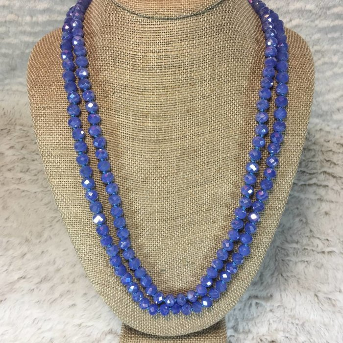 """Sapphire Crystal 60"""" Knotted Long Necklace"""