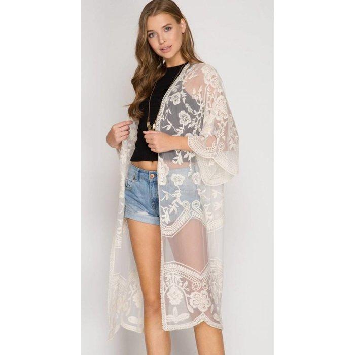 Cream Lace Long Kimono