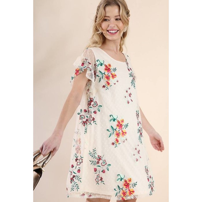 Ruffle Short Sleeve Dotted Sheer Floral Embroidered Dress