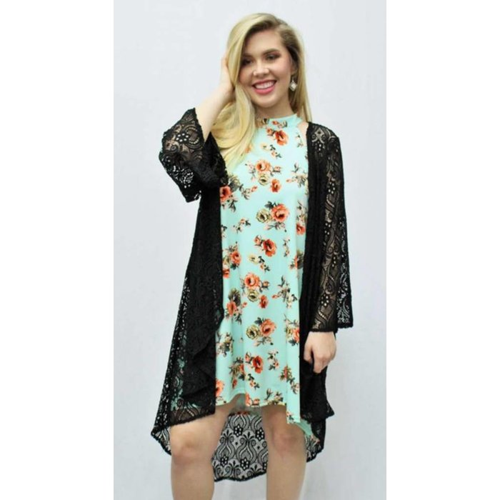 Black Bell Sleeve Lace Cardigan