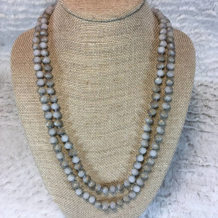 """Matte Grey Marble Crystal Knotted Long Necklace 60"""""""