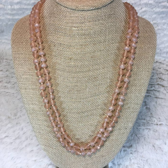 """Matte Peach Crystal Knotted Long Necklace 60"""""""