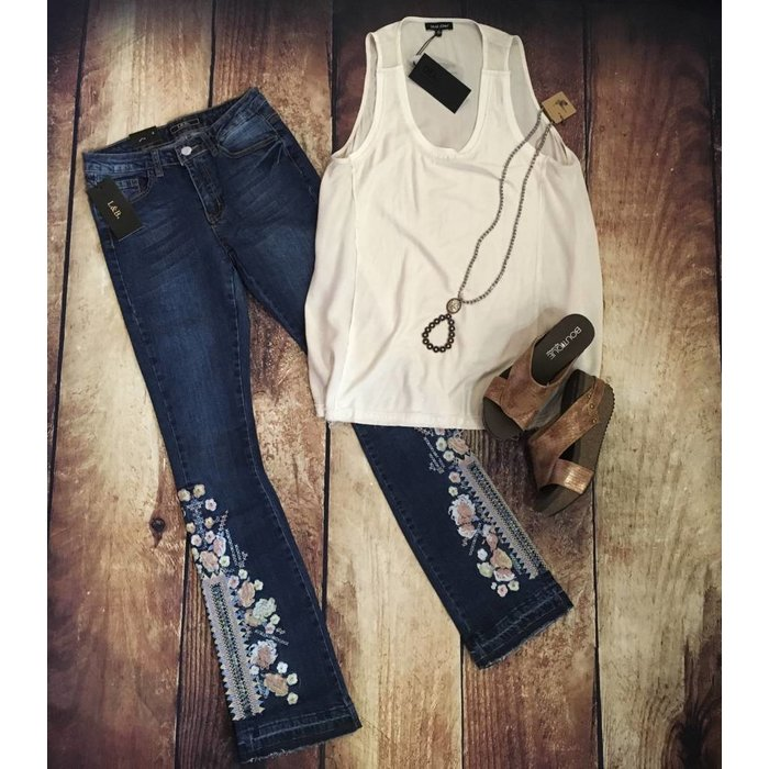 Boot Cut Embroidered Denim Jean