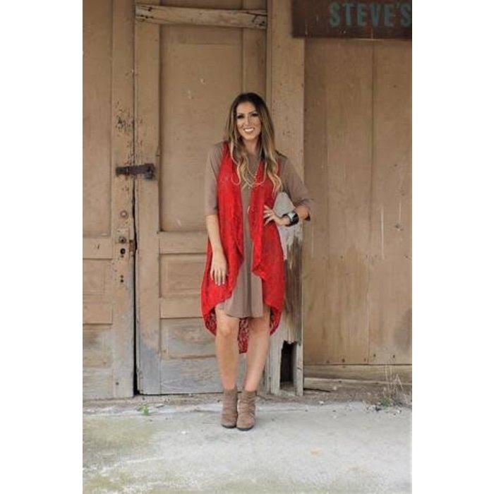Long Red Lace Vest