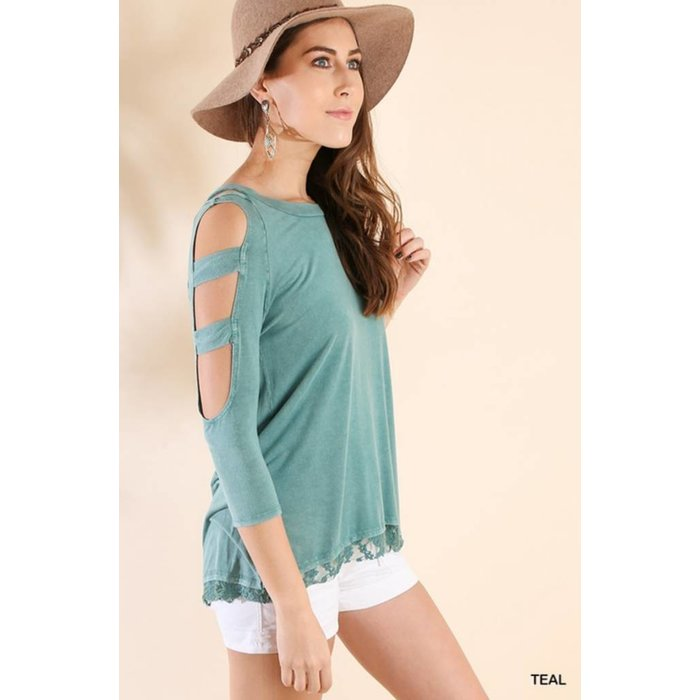 Teal Washed Top w/ Shoulder Cutouts
