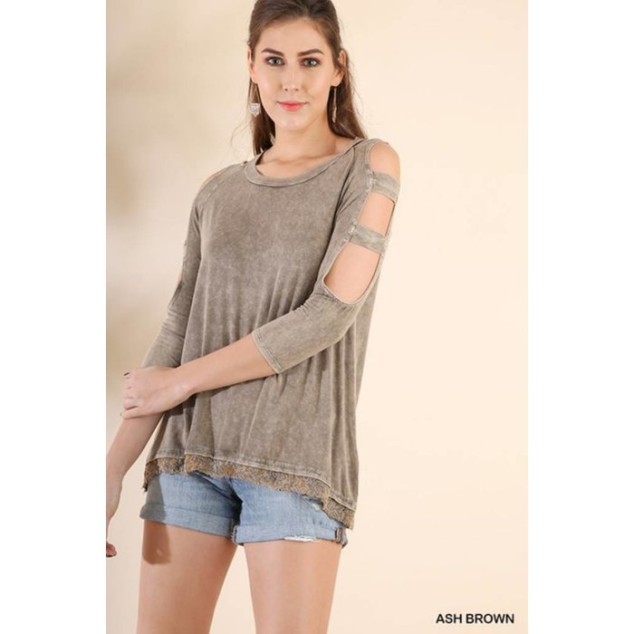 Brown Washed Top w/ Shoulder Cutouts