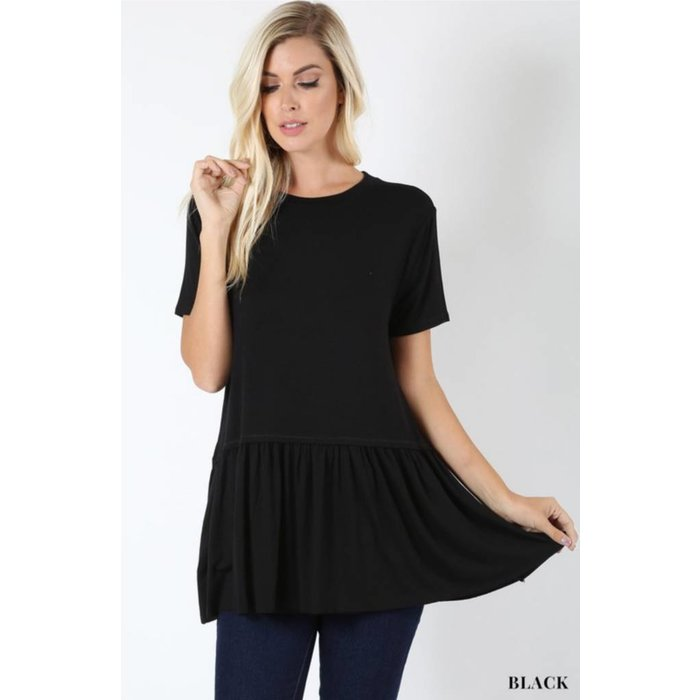 PLUS Black Ruffle Bottom Top