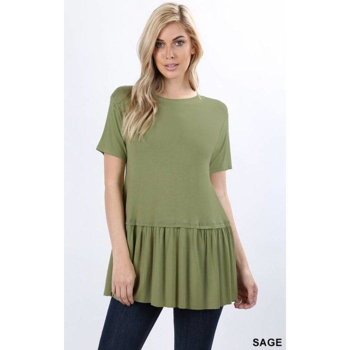 PLUS Sage Ruffle Bottom Top