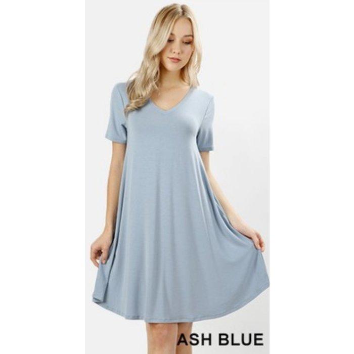 PLUS Ash Blue V-Neck Pocket Dress