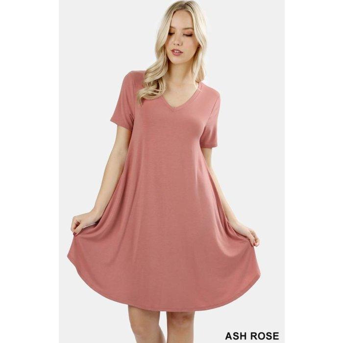 PLUS Ash Rose V-Neck Pocket Dress