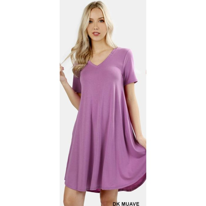 PLUS Dark Mauve V-Neck Pocket Dress