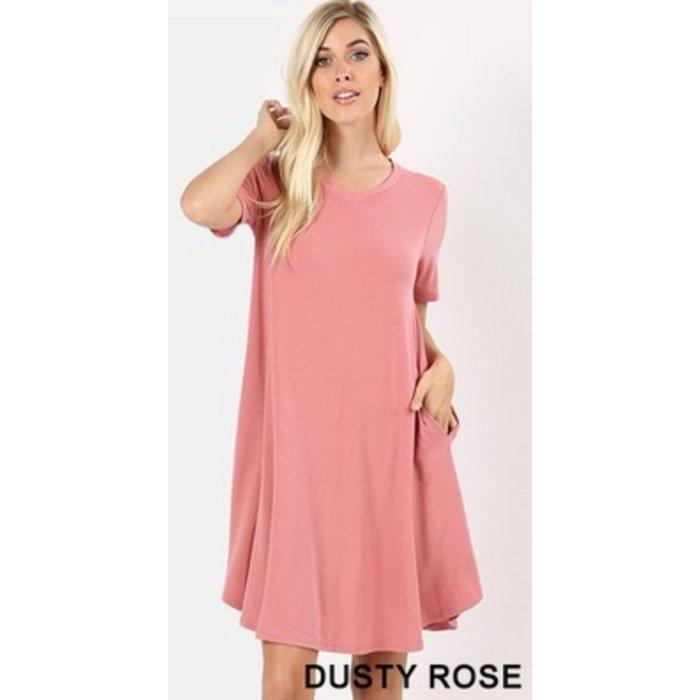Dusty Rose V-Neck Pocket Dress