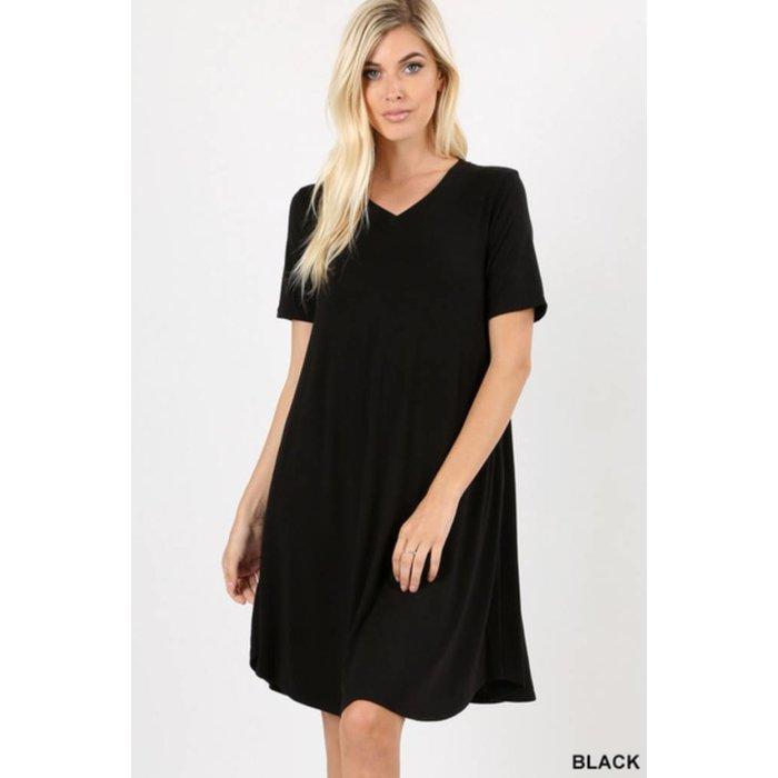 Black V-Neck Pocket Dress