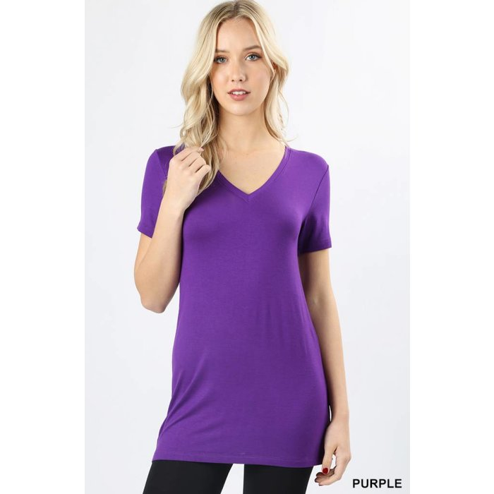 Purple Short Sleeve V-Neck Tee