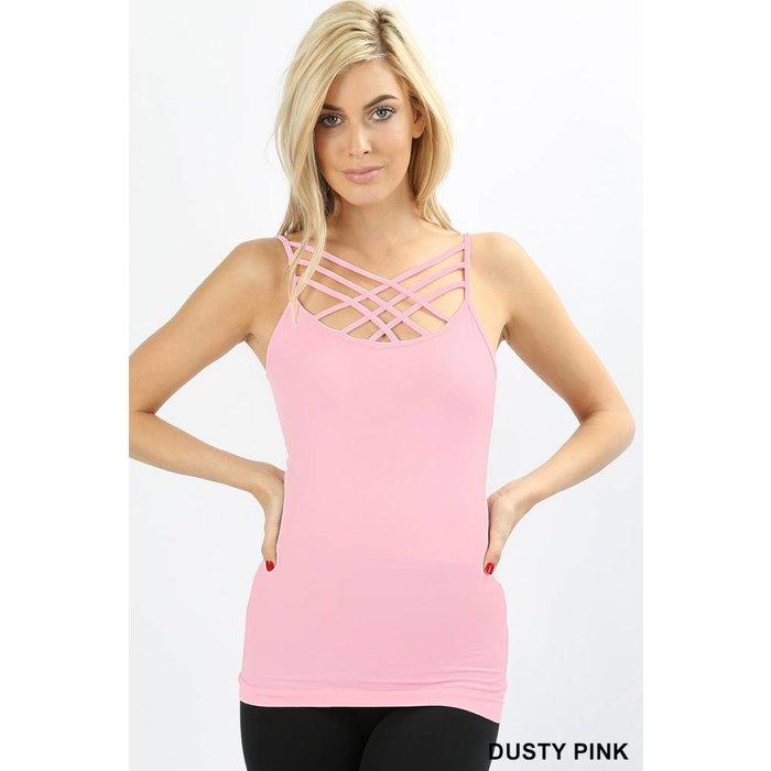 Dusty Pink Criss Cross Tank