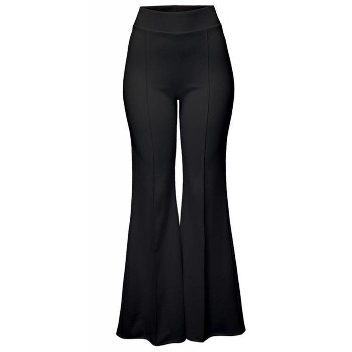 Black Flare Polyester Stretch Waist Pants