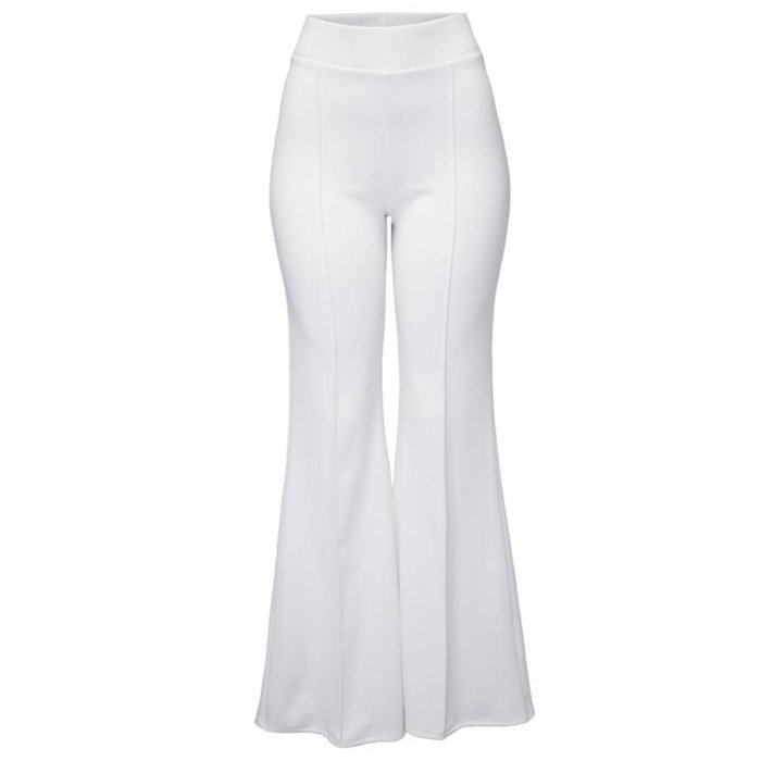 White Flare Polyester Stretch Waist Pants
