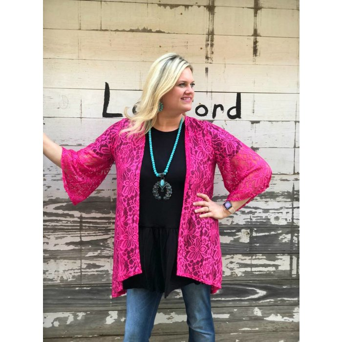 Hot Pink Lace Cardigan