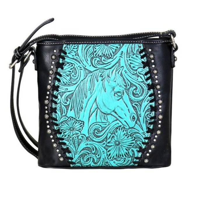 Turquoise Horse Head Tooled Leather Crossbody