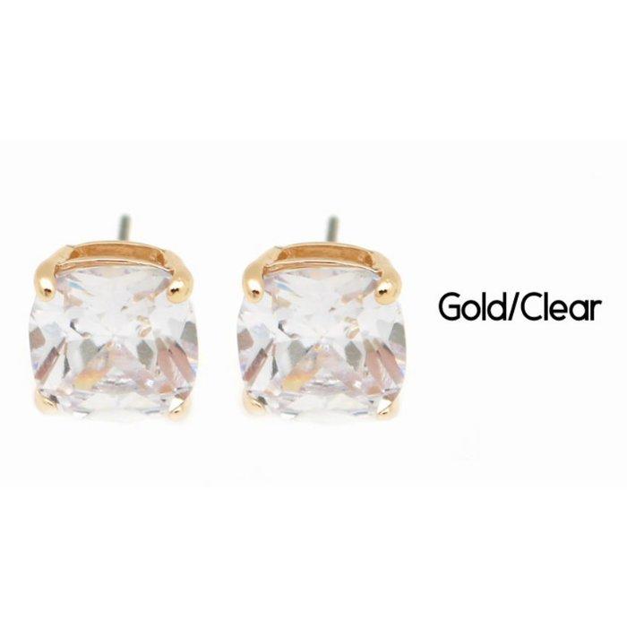 Gold Clear Stud Earrings
