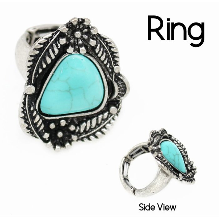 Floral Silver Turquoise Ring