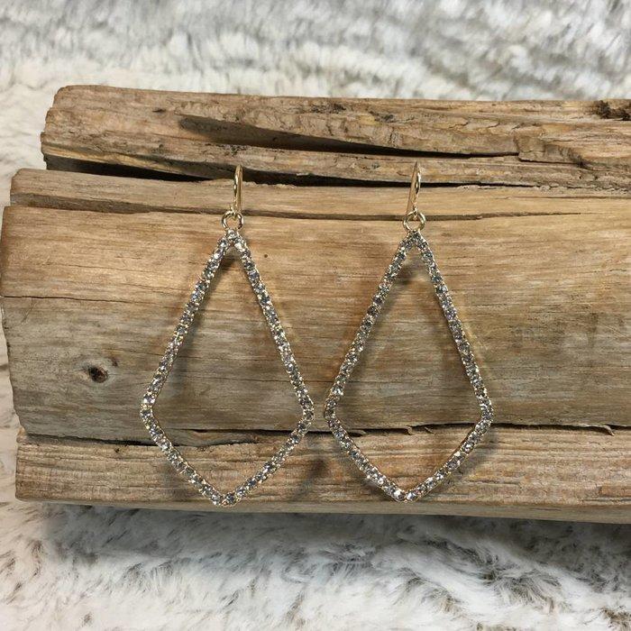 Open Clear Gold Diamond Shape Earrings