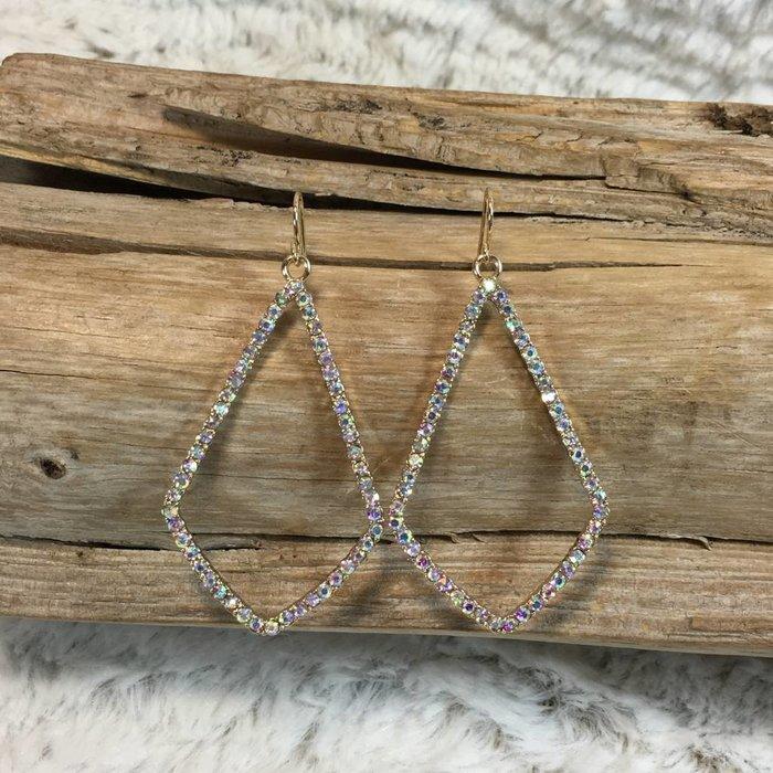 Open AB Gold Diamond Shape Earrings