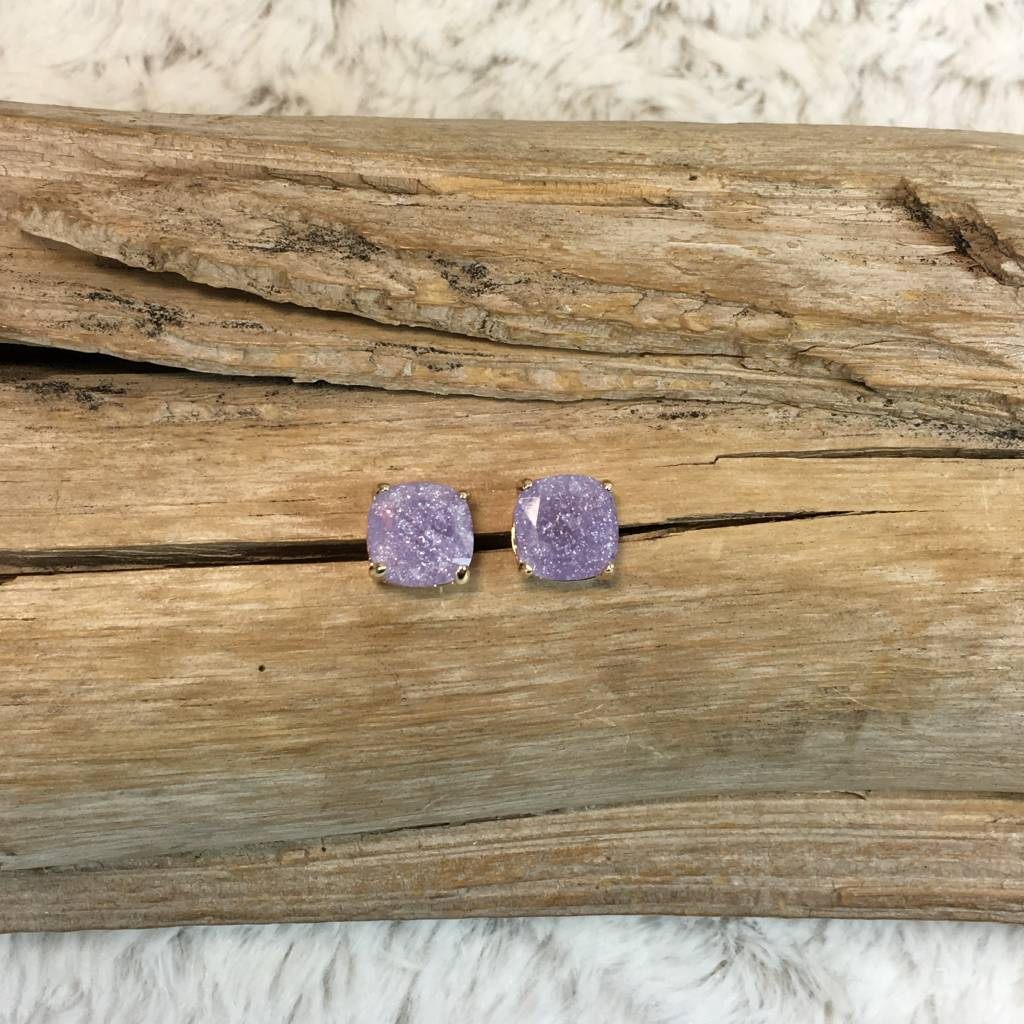 Lavender Stud On Gold Post Earrings