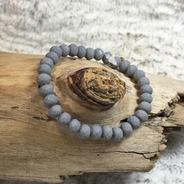 Grey Matte Crystal Stretch Bracelet
