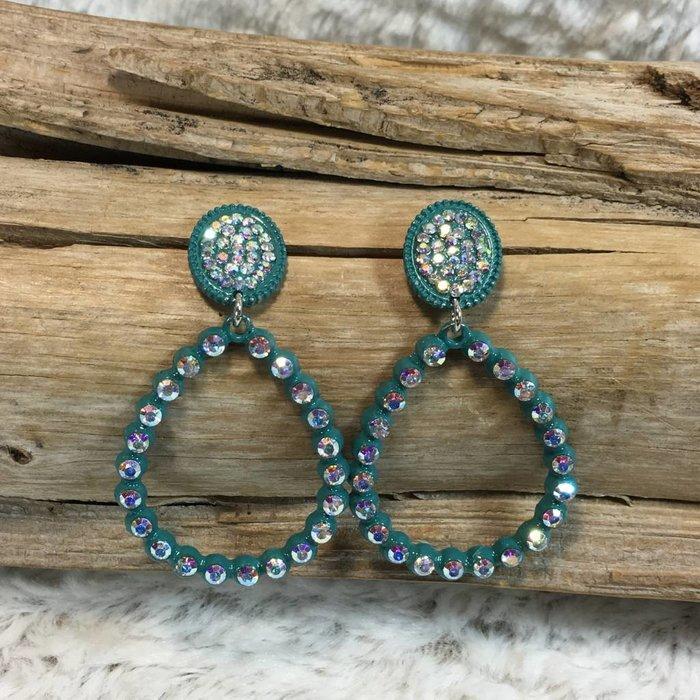 Blue AB Teardrop Stud Earrings