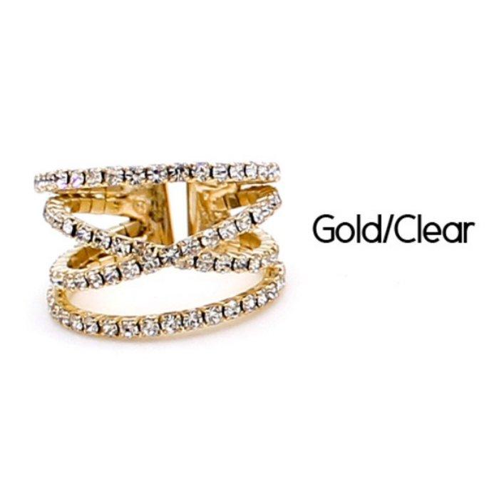 Gold Rhinestone Criss Cross Ring