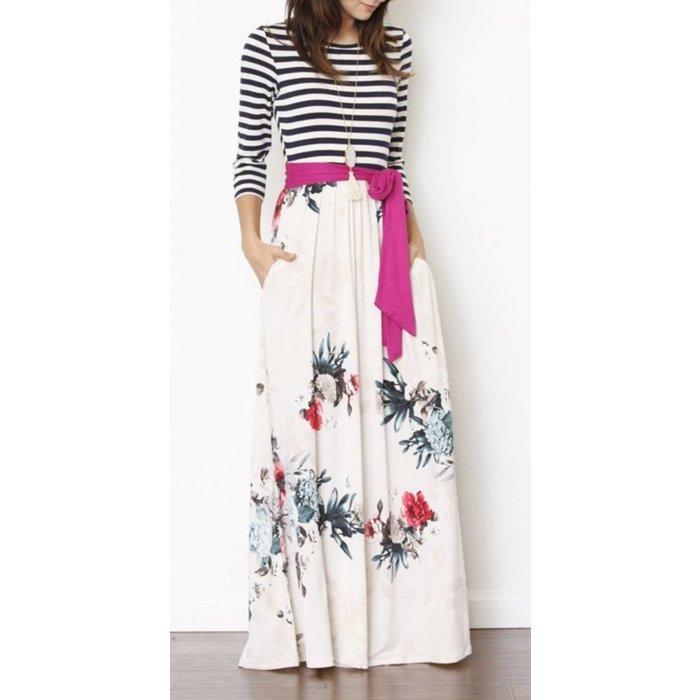 Hot Pink Sash Floral Stripe Maxi Dress