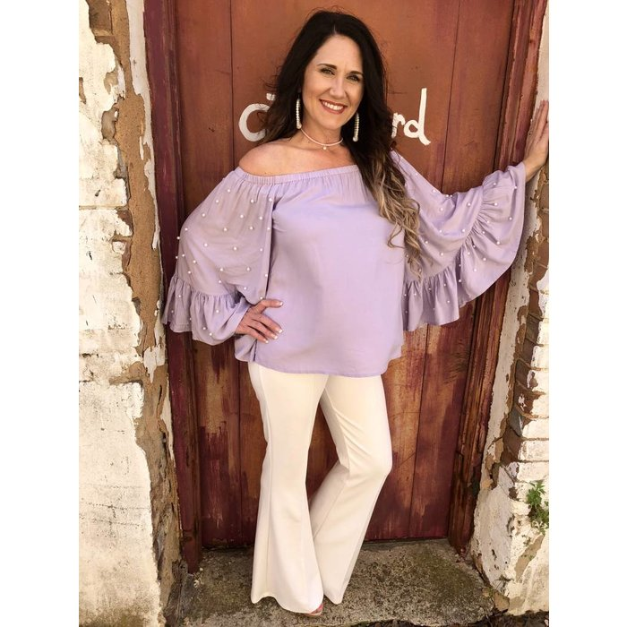 Lavender Pearl Accent Bell Sleeve Top