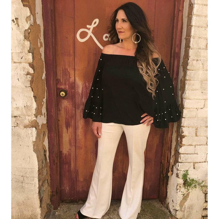 Black Pearl Accent Bell Sleeve Top