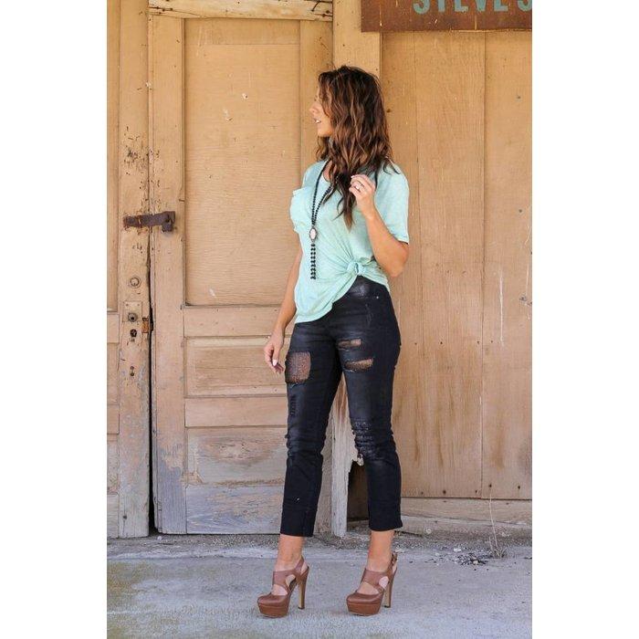 Black Bling Patch Sequin Boyfriend Jeans