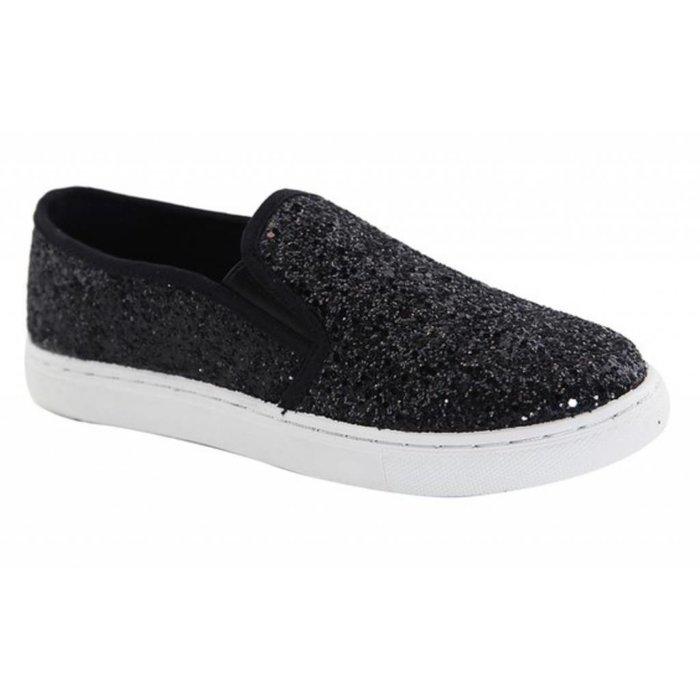 Black Glitter Slip On Sneaker