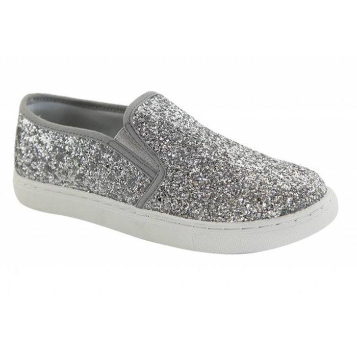 Silver Glitter Slip On Sneaker