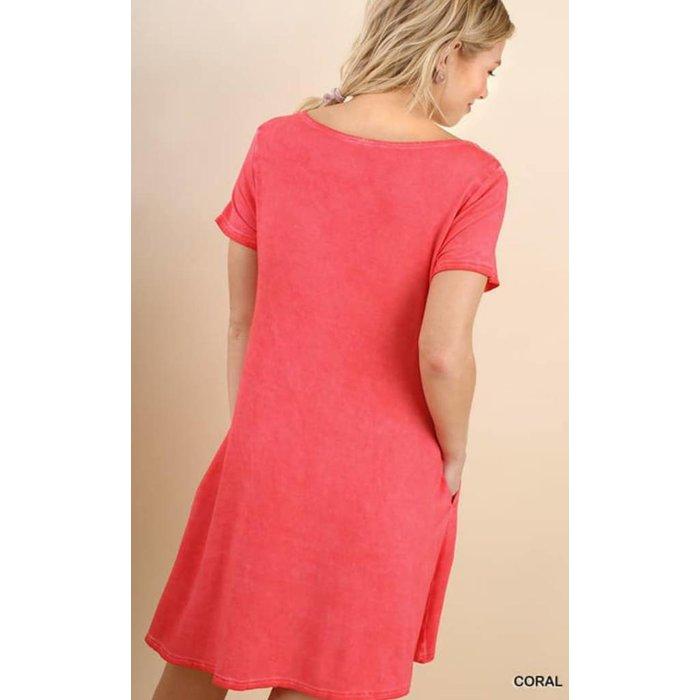 Coral Criss Cross Pocket Dress