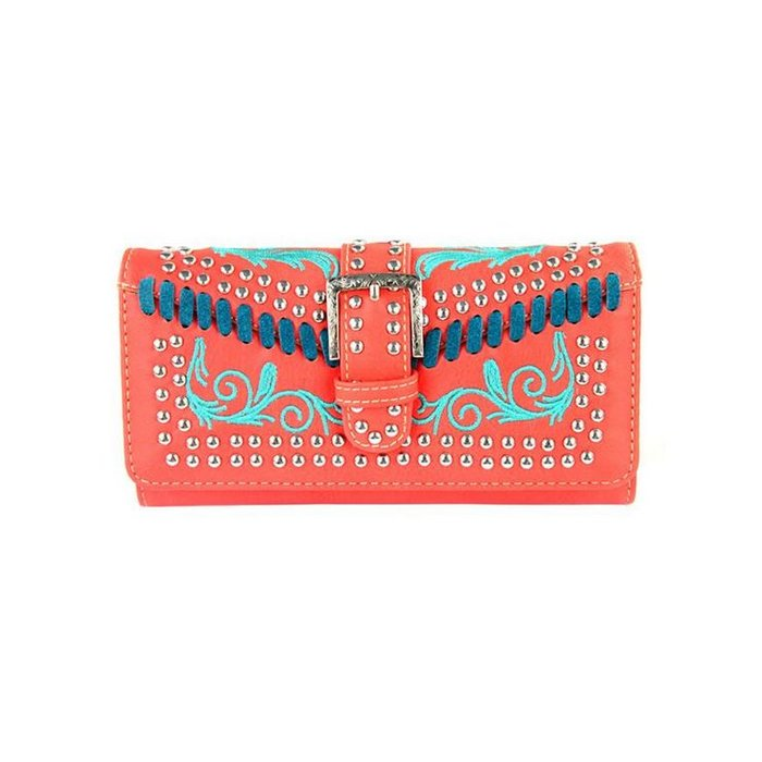 Coral & Turquoise Embroidered Buckle Studded Wallet