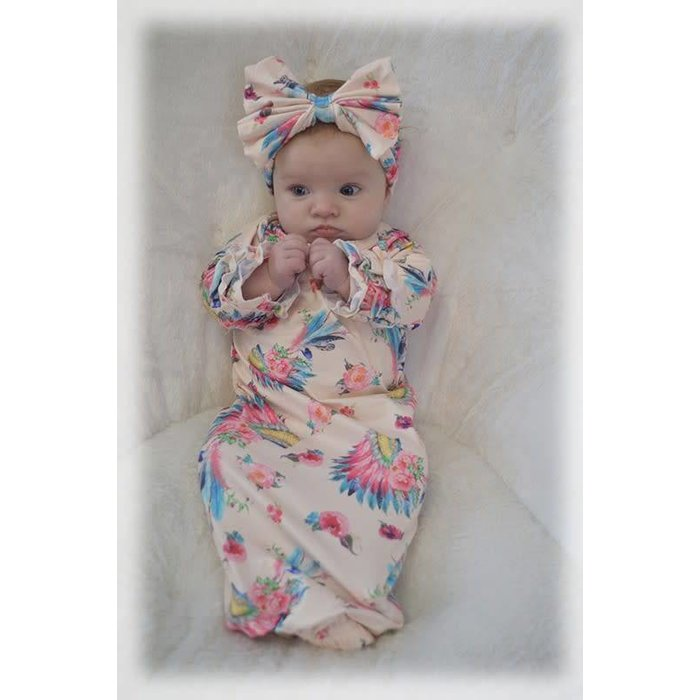 Headdress Baby Gown with Headband - ONE SIZE