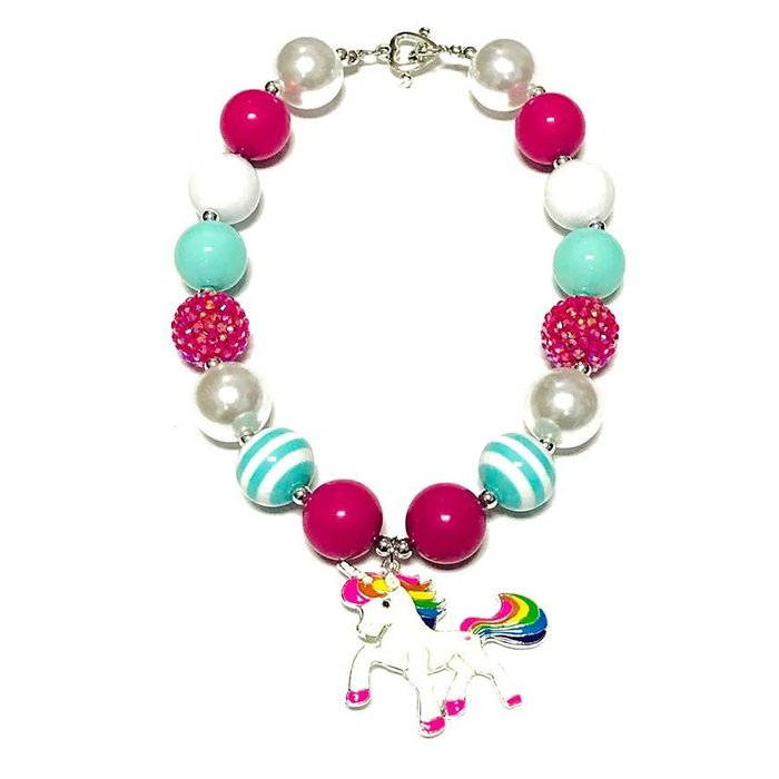 Mint & Fuchsia Unicorn Bubble Necklace