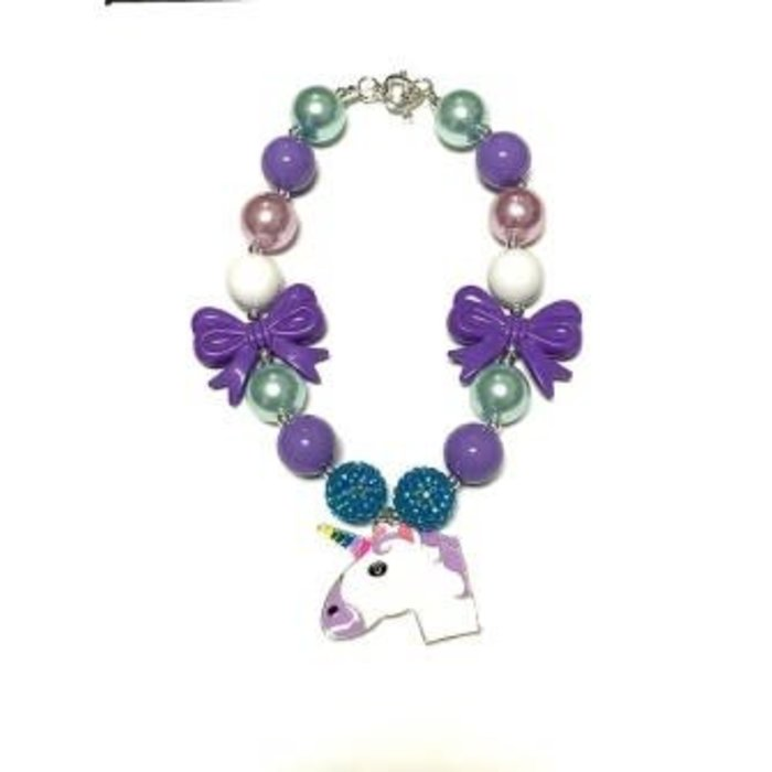 Turquoise & Purple Unicorn Bubble Necklace with Bow
