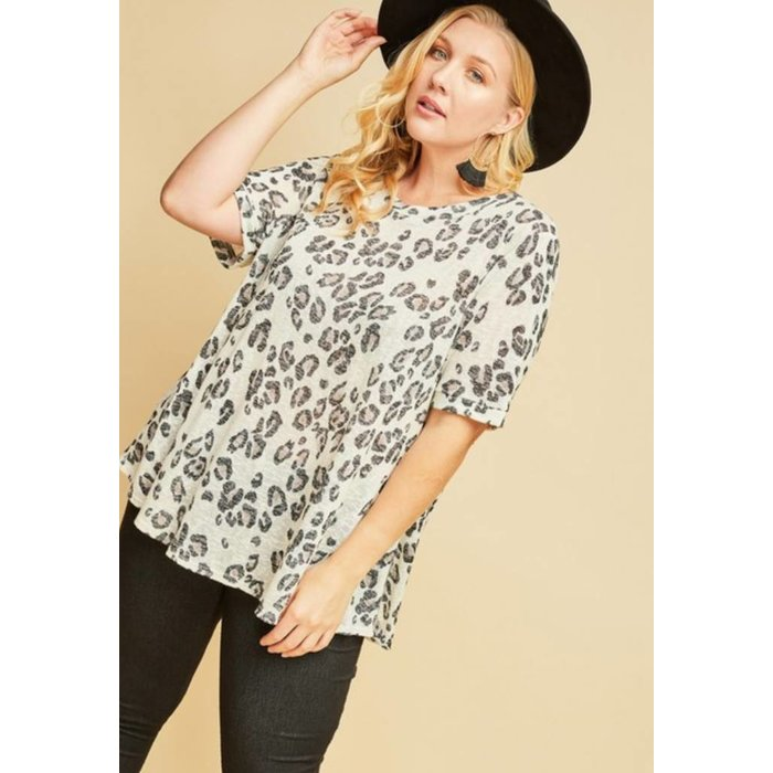Plus Ivory Leopard Tunic