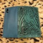 iPhone X Turquoise Tooled Cover Case Wallet