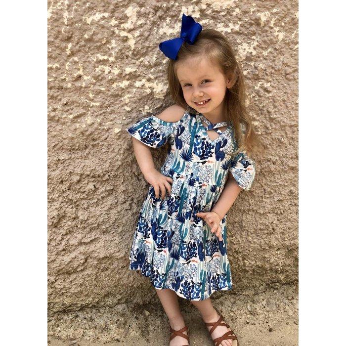Blue Cactus Cold Shoulder Kids Dress
