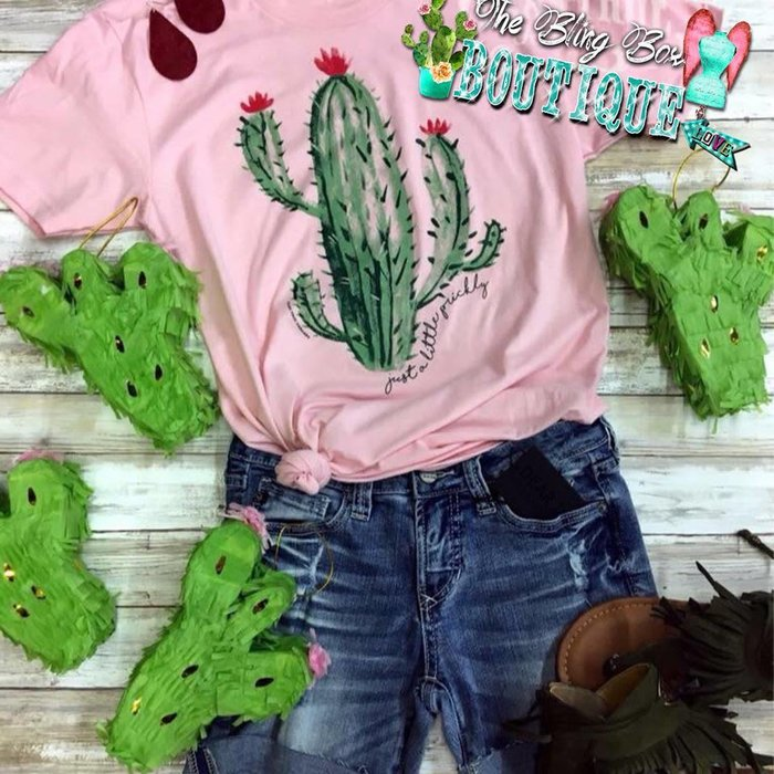 Pink Cactus Just a Little Prickly T-Shirt