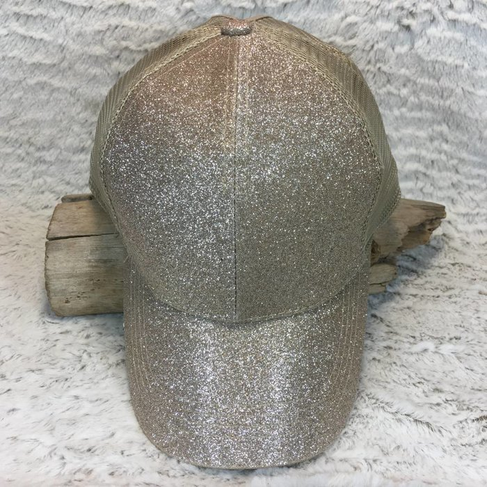 Gold Glitter Ponytail Hat
