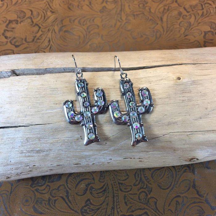 Silver Cactus Bling Earrings