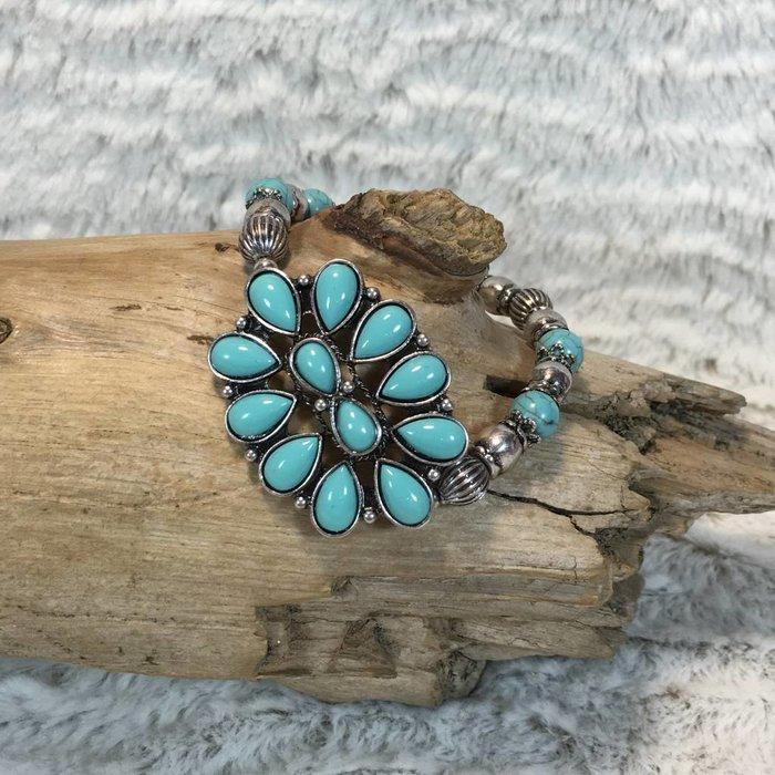 Turquoise Medallion Silver Stretch Bracelet